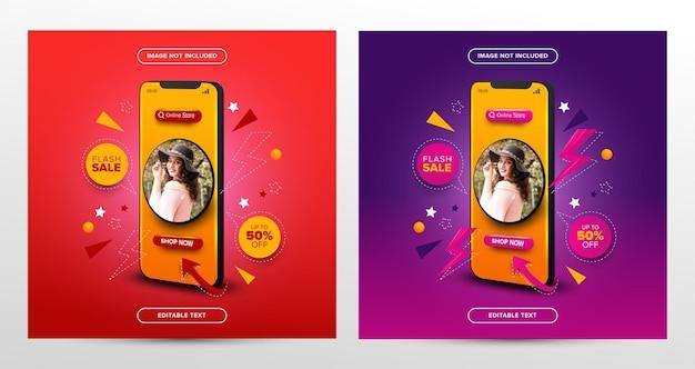 Conjunto de promoção de compra on-line de venda flash em postagem de mídia social com texto editável