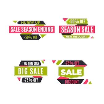 Conjunto de promoção de venda e desconto