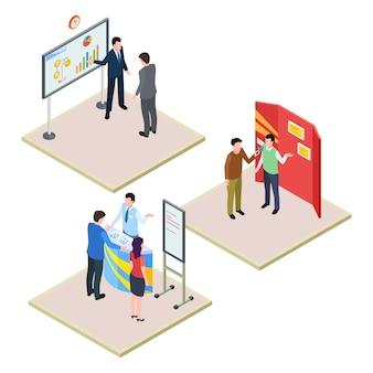 Conjunto de promoções com empresários e visitantes