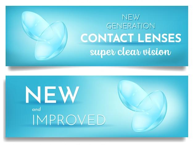 Conjunto de publicidade banner novas lentes de contato ocular