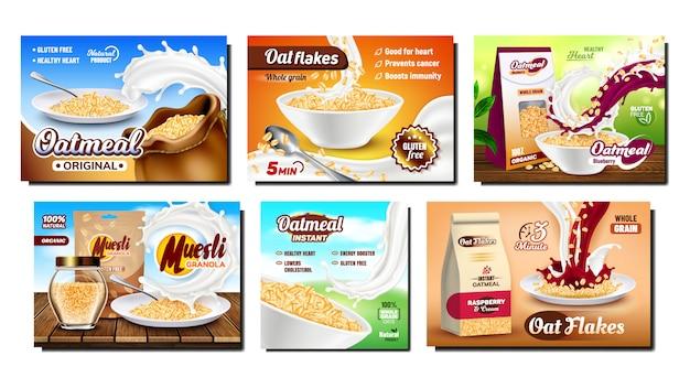 Conjunto de publicidade promocional de café da manhã de aveia