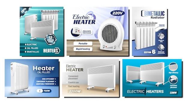 Conjunto de publicidade promocional de radiadores de aquecedor