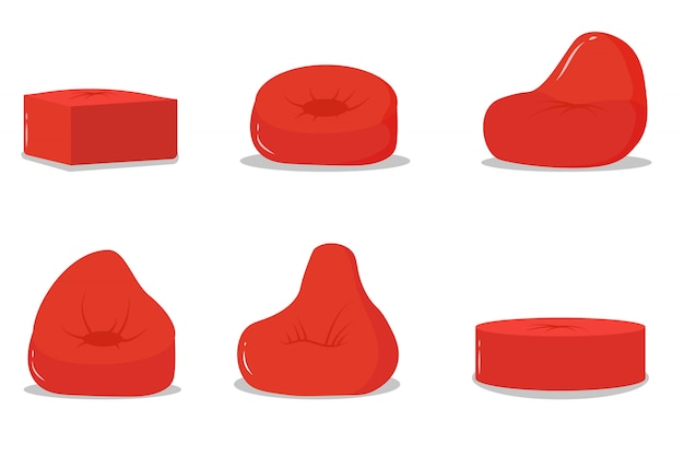 Conjunto de pufes vermelhos, mobília macia de ícone, cadeira macia confortável. almofada vermelha em forma redonda, uma bolsa recheada com tecido no chão, interior de casa. ilustração, .