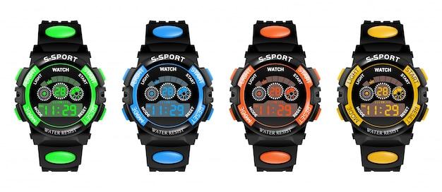 Conjunto de pulseira de fitness relógio inteligente com pedômetro e velocímetro,