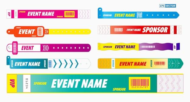 Conjunto de pulseiras de cordão ou conceito de entrada de identidade de concerto vetor eps