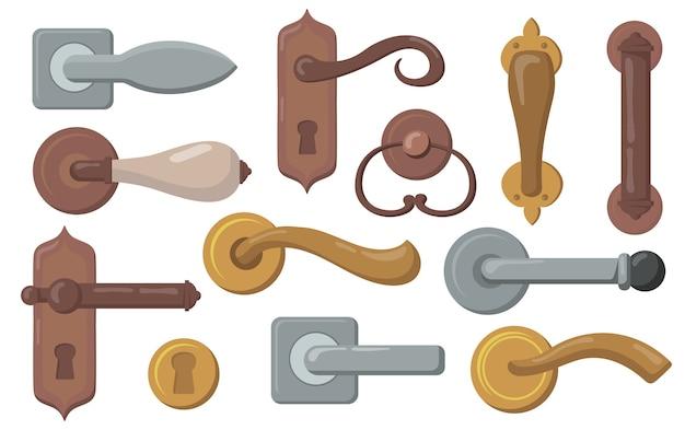 Conjunto de puxadores das portas. maçanetas tradicionais com fechadura, maçanetas de metal modernas. ilustração vetorial para interiores, móveis, acessórios, conceito de entrada