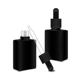 Conjunto de quadrado preto fechado e frasco aberto com uma tampa conta-gotas para óleo essencial. frasco cosmético ou frasco médico, balão, ilustração de garrafa