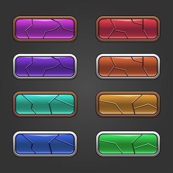 Conjunto de quadrados coloridos com botões brilhantes de design quebrado e versões pressionadas.