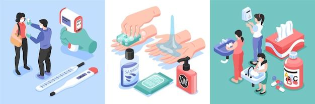 Conjunto de quadrados de prevenção de infecções com símbolos de saúde e medicamentos