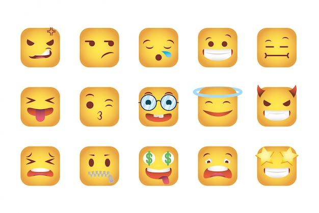 Conjunto de quadrados emoticons enfrenta caracteres
