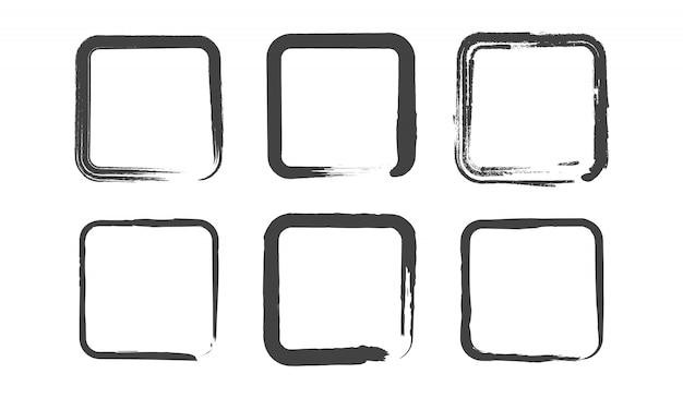 Conjunto de quadrados redondos de grunge. tinta pincel