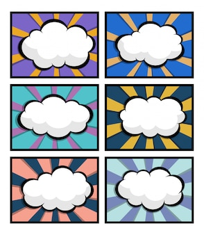Conjunto de quadrinhos, arte pop com balão em branco