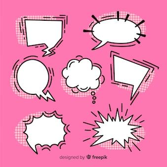 Conjunto de quadrinhos bolhas do discurso coleção em fundo rosa