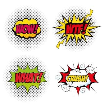 Conjunto de quadrinhos como artsigns pop sobre ilustração vetorial de fundo branco