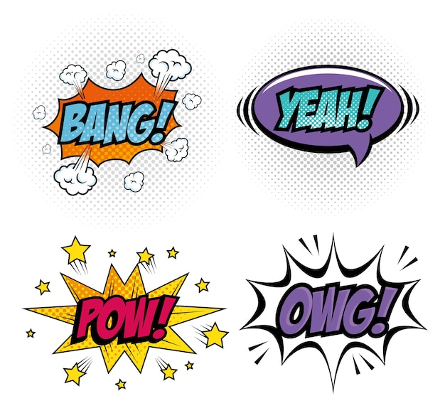 Conjunto de quadrinhos como sinais de arte pop sobre ilustração vetorial de fundo branco