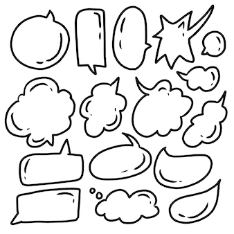 Conjunto de quadrinhos mão desenhada discurso bolha