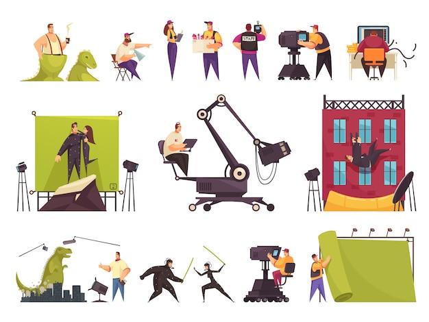 Conjunto de quadrinhos plana de produção cinematográfica de cinema com equipe de filmagem lançou cenas engraçadas, construindo o local da filmagem