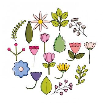 Conjunto de quadro circular decorativo jardim de flores