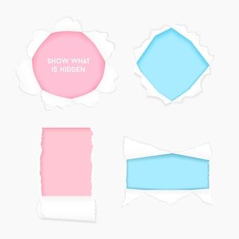 Conjunto de quadro de banners rasgado buraco realista de papel rasgado