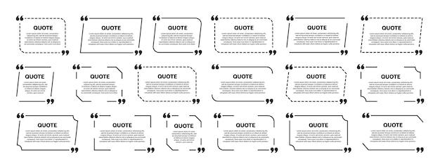 Conjunto de quadro de caixa de cotação. design de modelo. quadro para texto informativo ou citação.