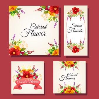 Conjunto de quadro de cartão colorido floral