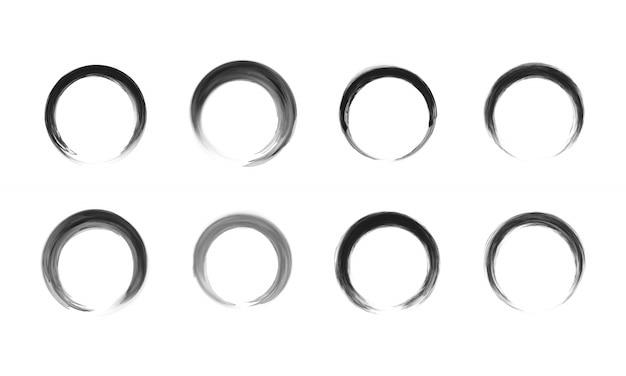 Conjunto de quadro de círculo preto.