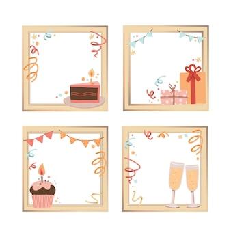 Conjunto de quadro de colagem de aniversário desenhado à mão