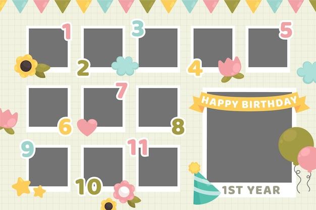 Conjunto de quadro de colagem plana de aniversário