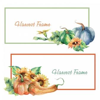 Conjunto de quadro de colheita em aquarela
