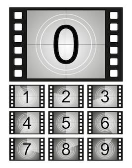 Conjunto de quadro de contagem regressiva. contagem regressiva do filme. contagem do cronômetro do filme. tira de cinema retrô. contagem do temporizador vintage.