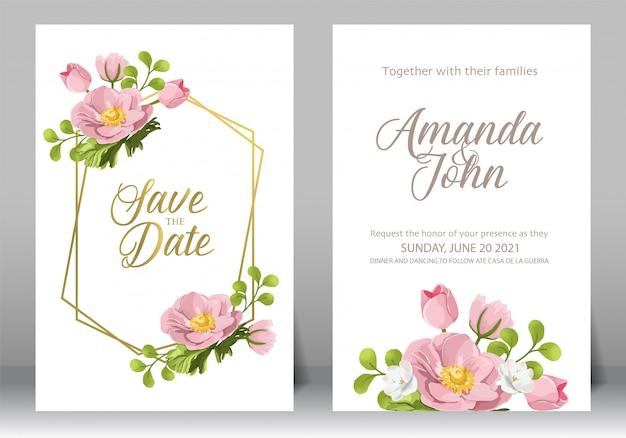 Conjunto de quadro de convite de casamento