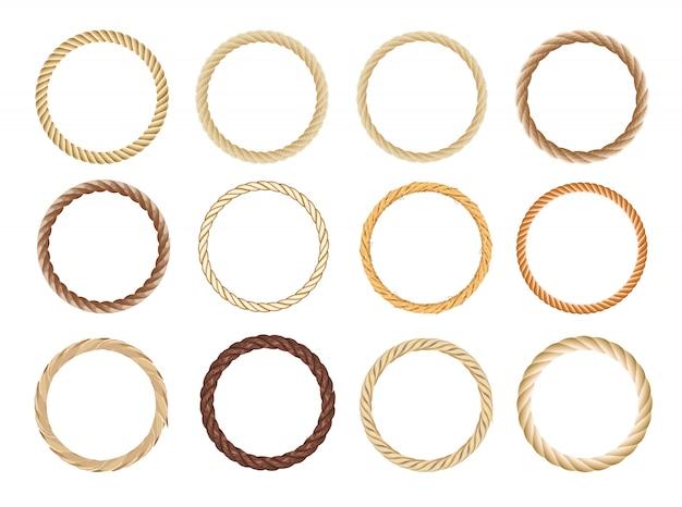 Conjunto de quadro de corda redonda. cordas circulares, borda arredondada e círculos decorativos de armação de cabos marinhos.