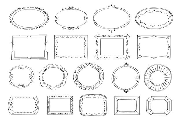 Conjunto de quadro de doodle desenhado à mão