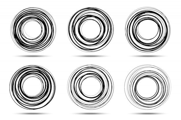 Conjunto de quadro de espiral em círculo. rodadas de linha de rabisco.