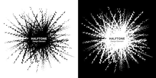 Conjunto de quadro de estrela de meio-tom. fronteira no local grunge usando círculo de meio-tom pontos textura raster.