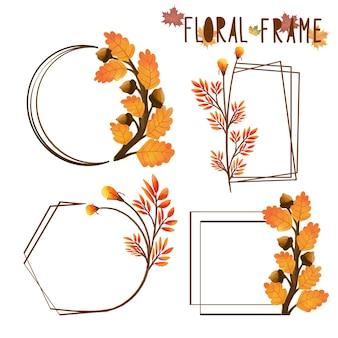 Conjunto de quadro de folha de outono pintado em aquarela, clipart de folhas. desenho isolado no fundo branco.