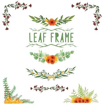 Conjunto de quadro de folha pintado em aquarela, clipart de folhas verdes. desenho isolado no fundo branco.