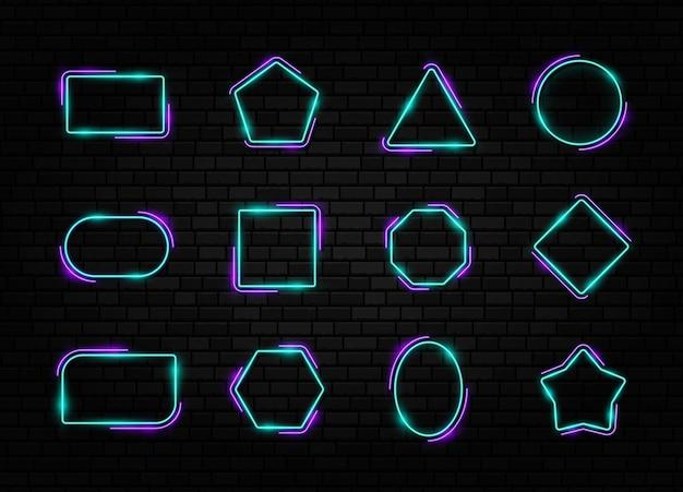 Conjunto de quadro de néon colorido coleção de sinais de formas diferentes em fundo escuro de tijolos de concreto