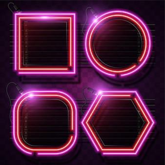 Conjunto de quadro de néon de geometria. sinal de néon rosa e roxo.