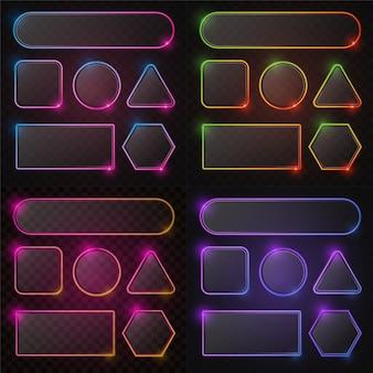 Conjunto de quadro de néon gradiente