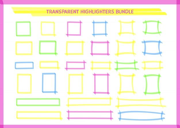 Conjunto de quadro de retângulo de caneta de destaque transparente