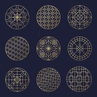 Conjunto de quadro de vetor círculo asiático. ornamentos de chinês tradicional