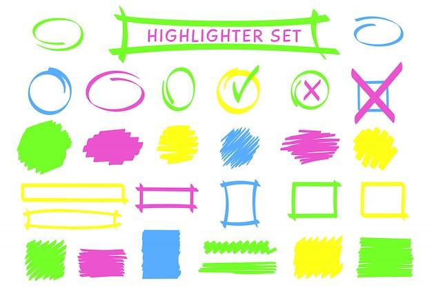 Conjunto de quadro e rabisco de caneta de destaque de néon