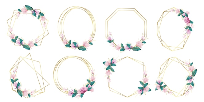 Conjunto de quadro floral aquarela para logotipo de monograma de casamento e design de logotipo de marca