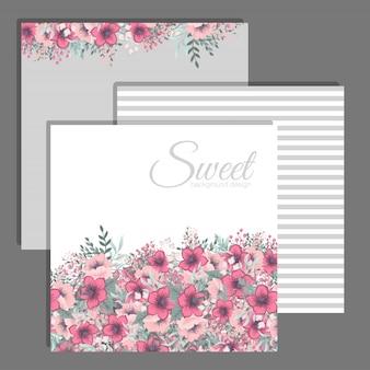 Conjunto de quadro floral com flores coloridas.