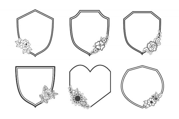 Conjunto de quadro floral de monograma escudo