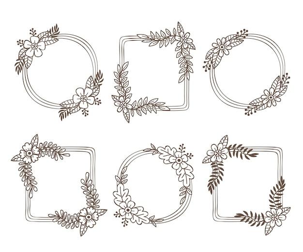 Conjunto de quadro floral desenhado