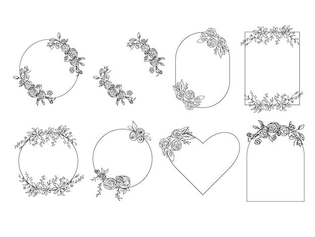 Conjunto de quadro floral. ilustração vetorial.