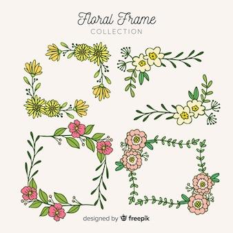Conjunto de quadro floral quadrado mão desenhada