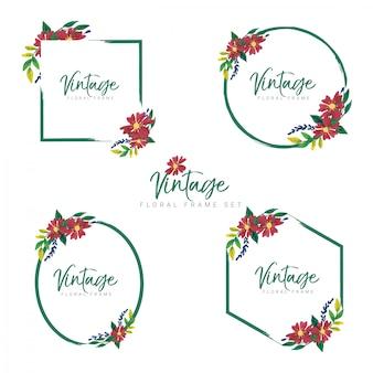 Conjunto de quadro floral vintage